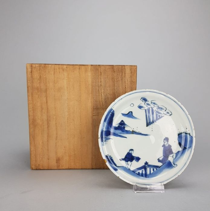Literati / Scholar and attendant  in a landscape Plate - China - 17th C