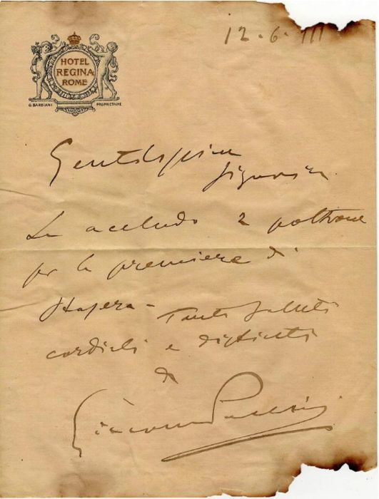 Giacomo Puccini composer - Autograph letter; Invitation sent to Mascagni's wife to attend the Première of the work Fanciulla del West - 1911