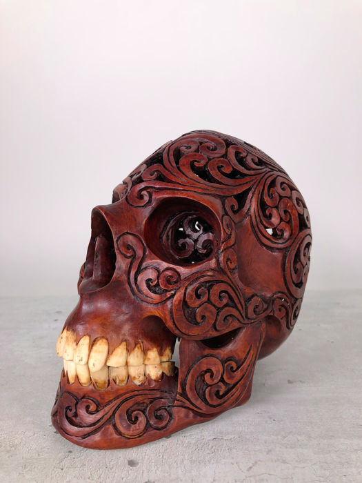 Hand carved Human skull - Tribal style carving - Octagram of