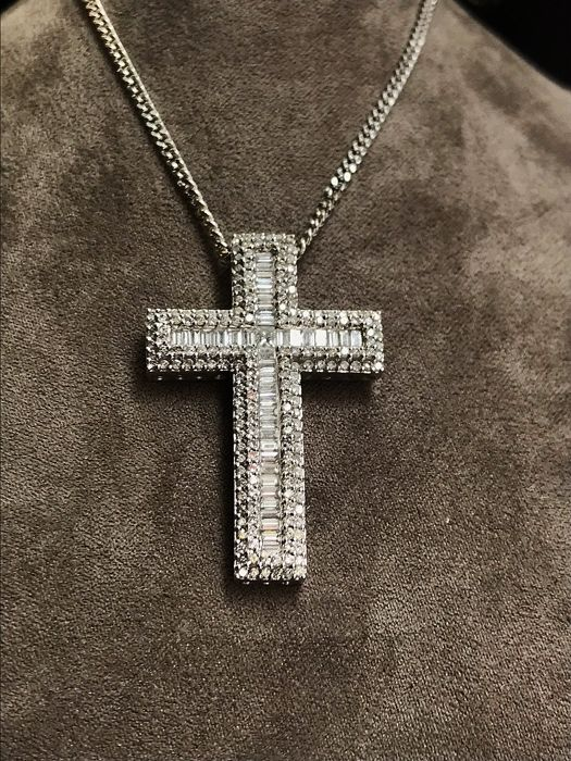 18ct White Gold 2.75ct Diamond Cross Necklace