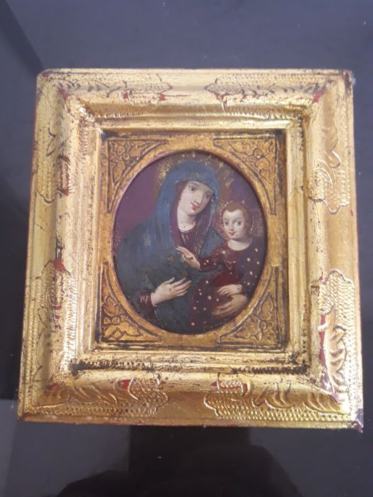 Virgin with child, painting oil on copper - (No Reserve Price)