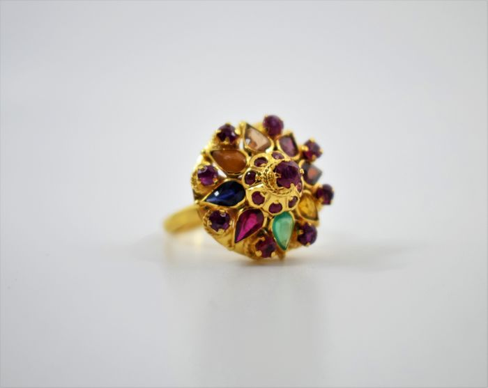 Vintage 14k Gold Cocktail Ring set with various precious stones