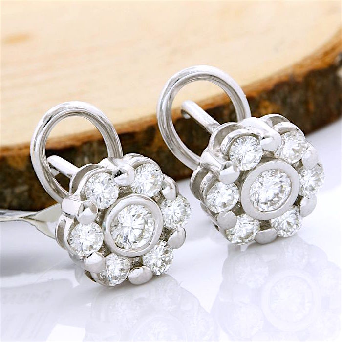 18kt/750 White Gold - 1.00 ct Round Brilliant Cut Diamond, Earrings; Size: 10mm