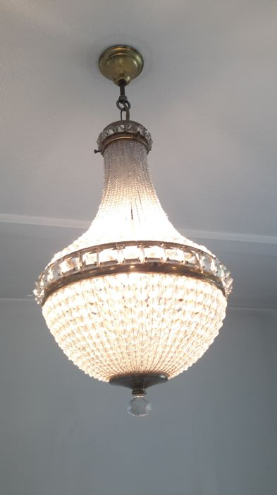 Chandelier, crystal with brass - 20th century