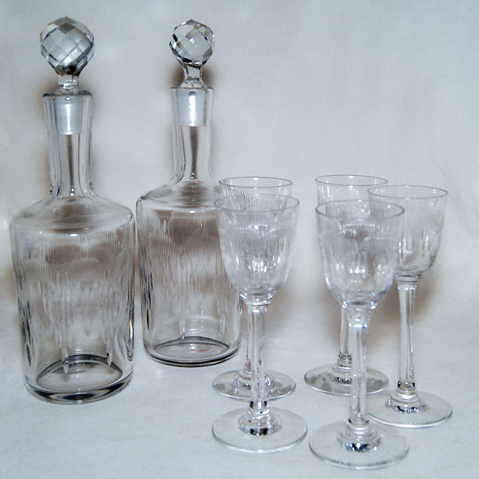 "Baccarat - ""Moliere"" set for spirits, wine of porto - 2 x pitchers 5 x glasses"
