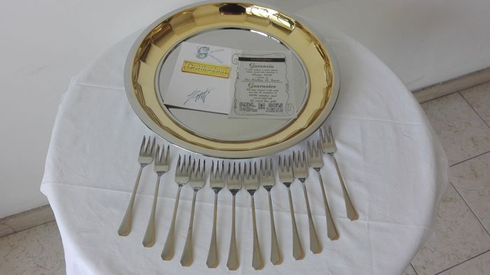 Dessert Cutlery Set with Tray - rolled in 24 kt gold