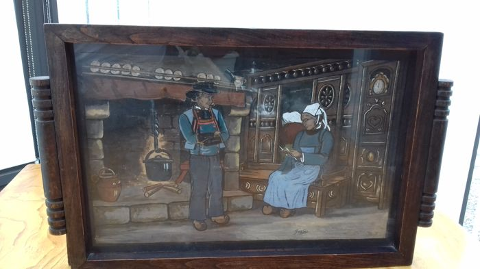Quimper - Large painting on wood by Yvon - painter of ceramic from Quimper - France - circa 1900