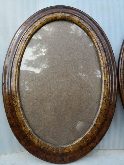 Three large oval wooden frames - stucco and briar-root - 1930/40 ...