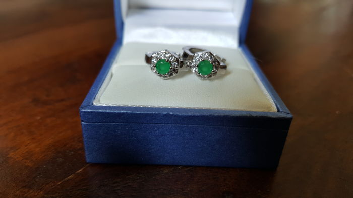 White Gold Cluster Earrings with Natural Emerald and White Topazes NO RESERVE PRICE!