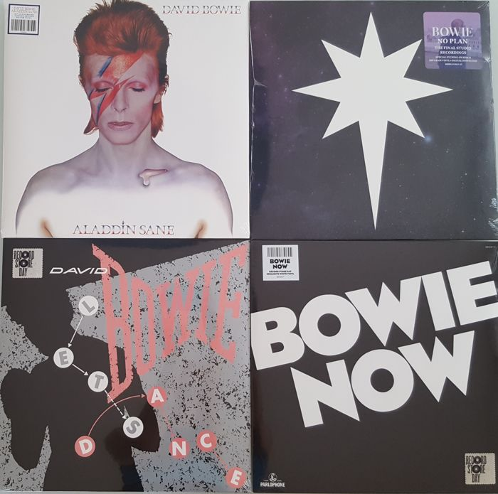 "David Bowie - Lot Of  2xLP + 2x12"" (4 Album All  Limited RSD Edition) / Bowie Now (RSD 2018 White) / Aladdin Sane (Limited Silver) / Let's Dance Demo (RSD 2018) /  No Plan EP (RSD 2017)"
