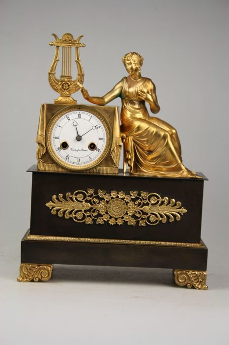 Gold-plated French mantel clock - Late 20th century