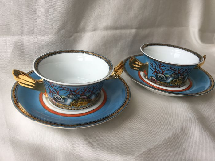 Versace by Rosenthal - Les tresors de la mer by Versace, 2 soup bowls with dishes