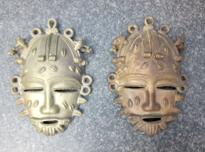 2 African Masks Made From Copper