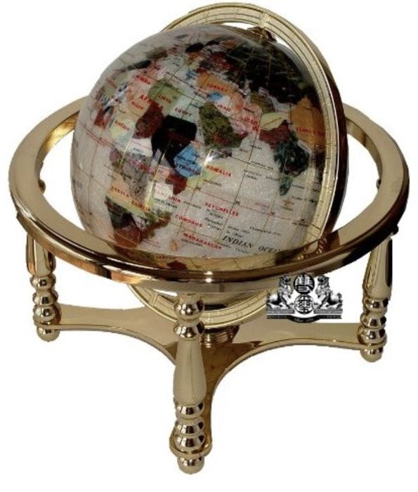 Huge Pearl stone globe Different gems - 52 x 40 cm - 9070 g