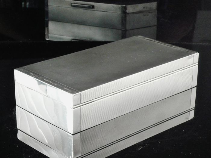 Large Silver Cigarette Box - Padgett & Braham Ltd - London - 1938