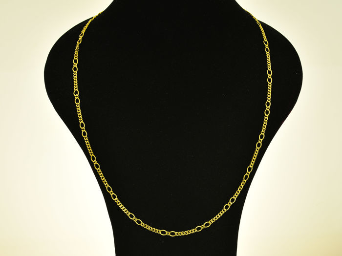 Gold, 18 kt. Chain necklace. Length: 60 cm. Weight: 18.4 g.