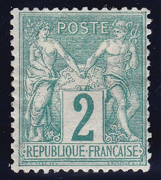 France 1876 - Sage Type I Signed Calves with certificate - Yvert 62