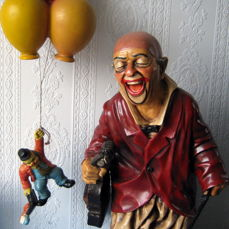 1. Jun Asilo Big Heavy Clown - With Violin and Violin Bow - Very nicely finished -- 2. Hanging Clown with three Balloons --