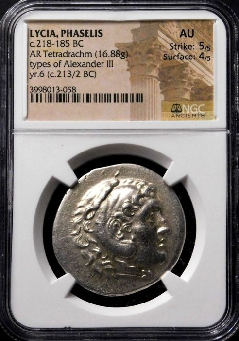Griekenland (oud) - Lycia, Phaselis. AR Tetradrachm, In the name and types of Alexander the Great (336-323 BC) Posthumous issue, dated CY 6 (213/2 BC) - Zilver