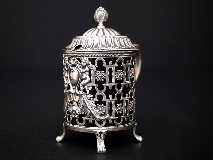 French Silver Mustard Pot - with Cobalt Glass Liner,    -Lapar,     -France end of 19th c.