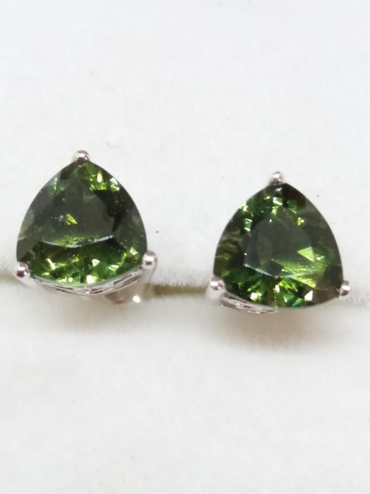 Moldavite Triangle Earrings silver Polished - 7x7mm - 1.44g - (2)