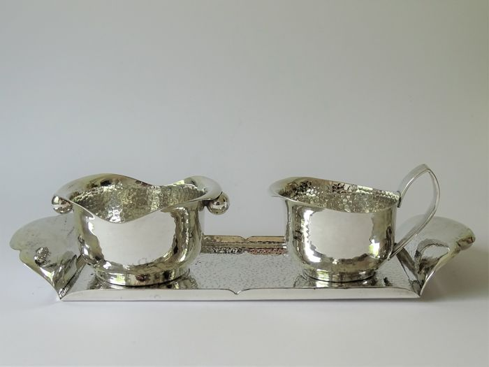 Georg Nilsson for Gero - Silver plated hammered cream set on serving tray
