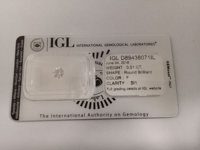 IGL 0.51 F SI1 Natural Diamond  - Round Brilliant 3x EX  ****No Reserve Price****
