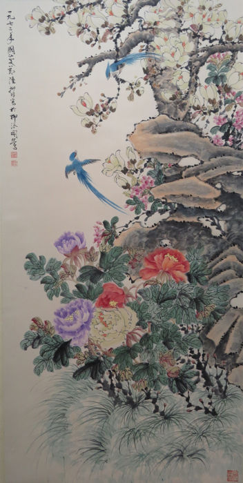 Hand-painted Chinese scroll painting 《陆抑非-花鸟》 - China - late 20th century