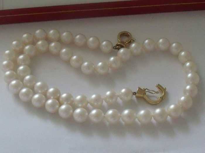 Akoya pearl necklace 7-7.5 mm with gold clasp with 2 diamonds