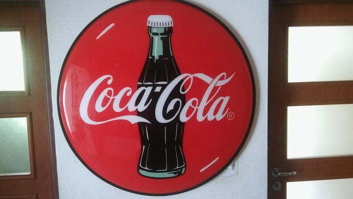 Diameter 95cm - logo COCA COLA - USA - 1995y.- adapted for the possibility of mounting the backlight LED strip - ultra light.