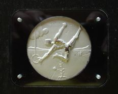 Salvador Dalì - original solid silver medallion - Los Angeles 1984 Olympic Games USA - Turn Contests