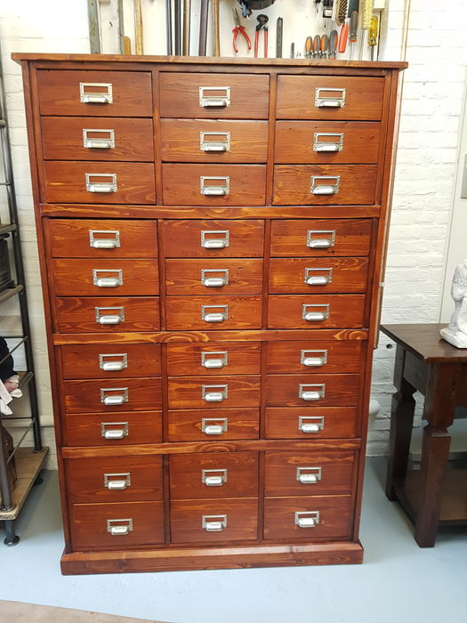 A shop cabinet with 33 drawers, mid 20th century