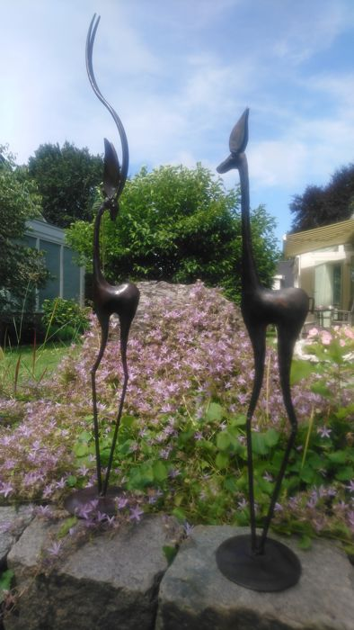 Two hand-wrought iron gazelles - 2nd half of the 20th century - the Netherlands