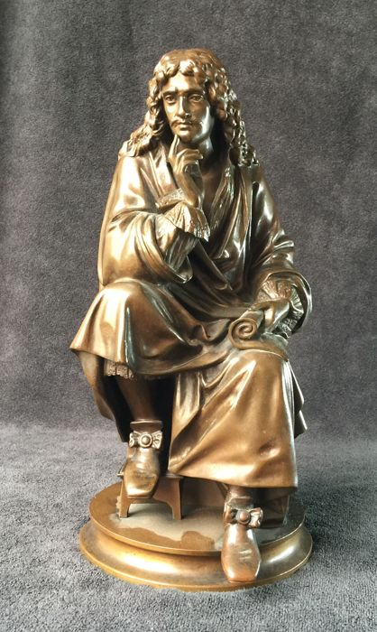 After Albert - Ernest Carrier Belleuse (1824-1887) - Founder Colin & Cie Paris - Bronze statue representing Molière - Old cast - France - Late 19th century