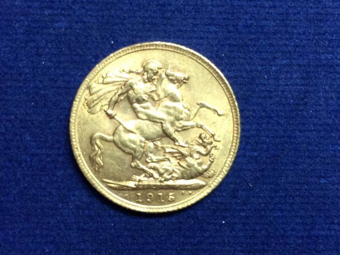 英國 - Sovereign 1915 George V.   - 金色