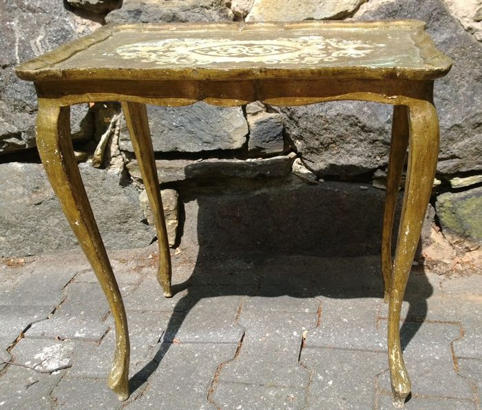 Tea table 36 x 56 cm, height: 58 cm small table, flowers stool, antique coffee table
