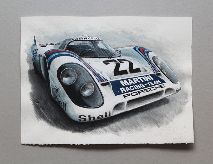 Illustration on paper - Porsche 917K Illustration - By João Saldanha - 2018