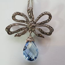 Necklace with large pendant - bow made of silver with blue stone and marcasites