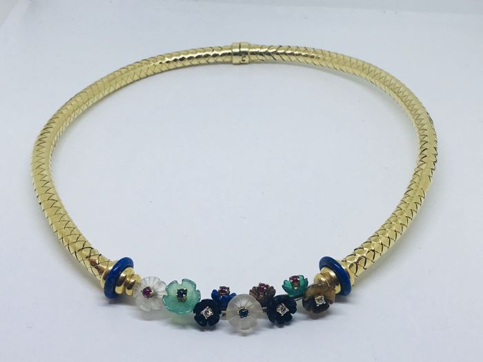 Necklace in 18 kt gold, diamonds, rubies and sapphires