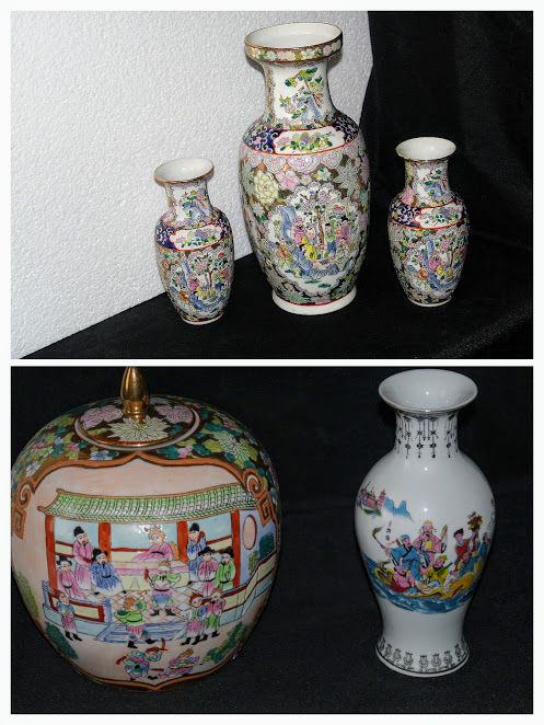 Lot, 5 piece Chinese vase & ginger jar with lid in porcelain - China - second half of the 20th century