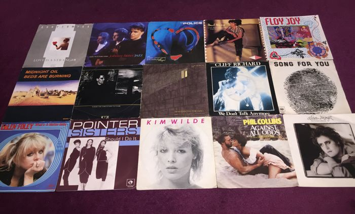 Lot of 45x nice 45RPM vinyl Singles From The 80`s