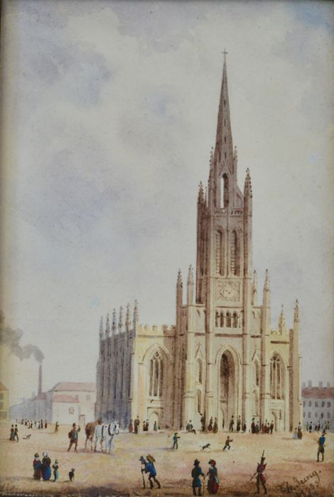 Charles Jung (19th century) - Figures near a cathedral