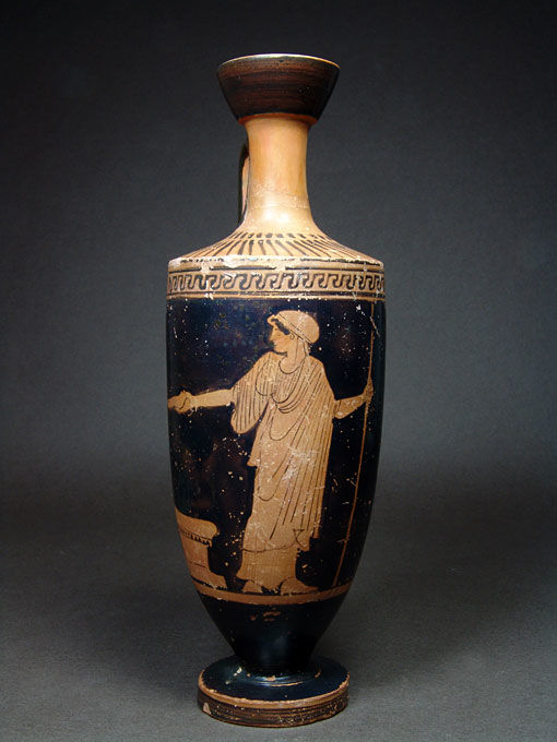 Greek Ceramic Lekythos with Woman Offering at Altar - H. 20.1 cm