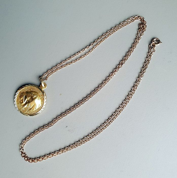 Lot of horoscope medal and 18 kt gold chain
