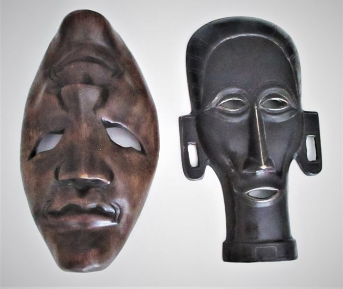 Decorative African copper and wooden mask