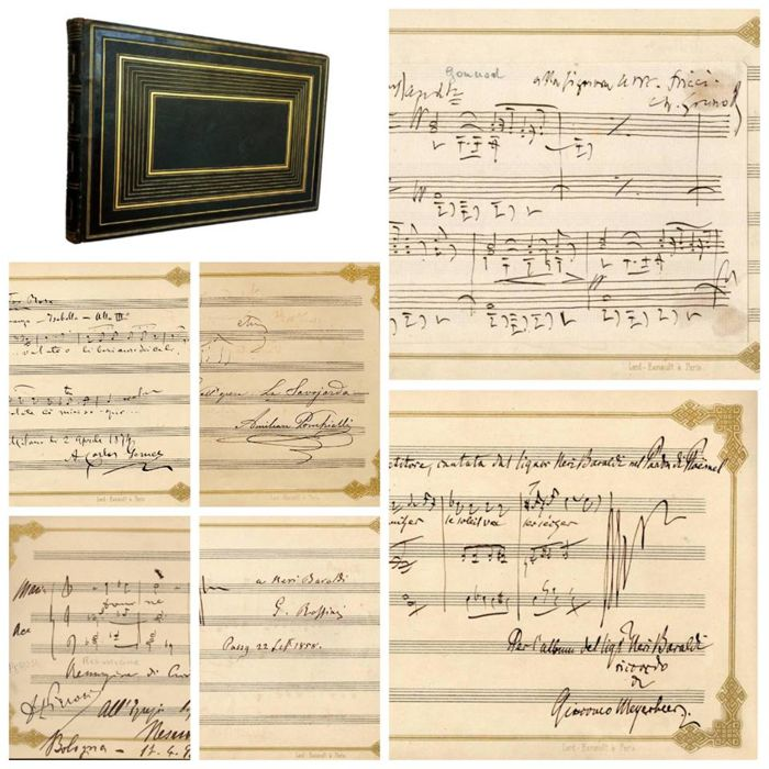 Neri Baraldi's Album Amicorum (Signed arrangements & autographs by Rossini, Meyerbeer, Gounod, Perosi, Gomes and others) - 1854