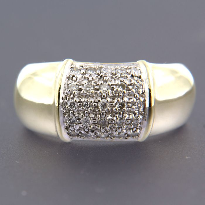 - no reserve price - 14 kt, bi-colour gold ring set with 25 brilliant cut diamonds, approx. 0.25 carat in total