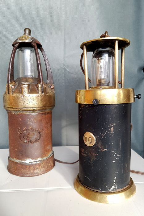 Two authentic miner lamps, beautifully patinated