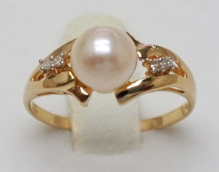 14KT Yellow Gold Ring  , 6.5 mm Japanese Akoya Saltwater Cultured Pearl ,  0.028ct Diamond , Size N 1/2