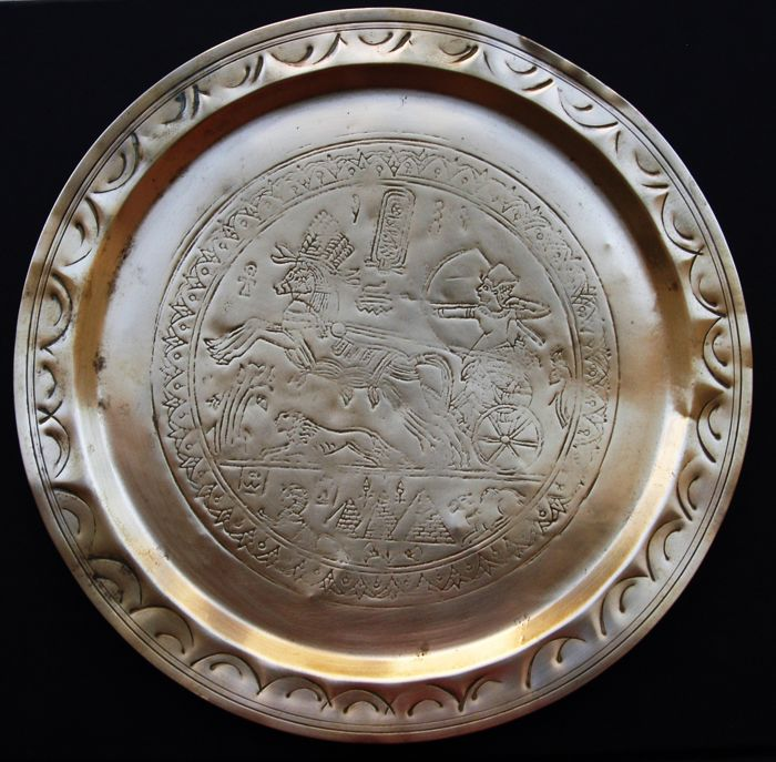 Antique serving tray with Egyptian scene - Early 20th Century